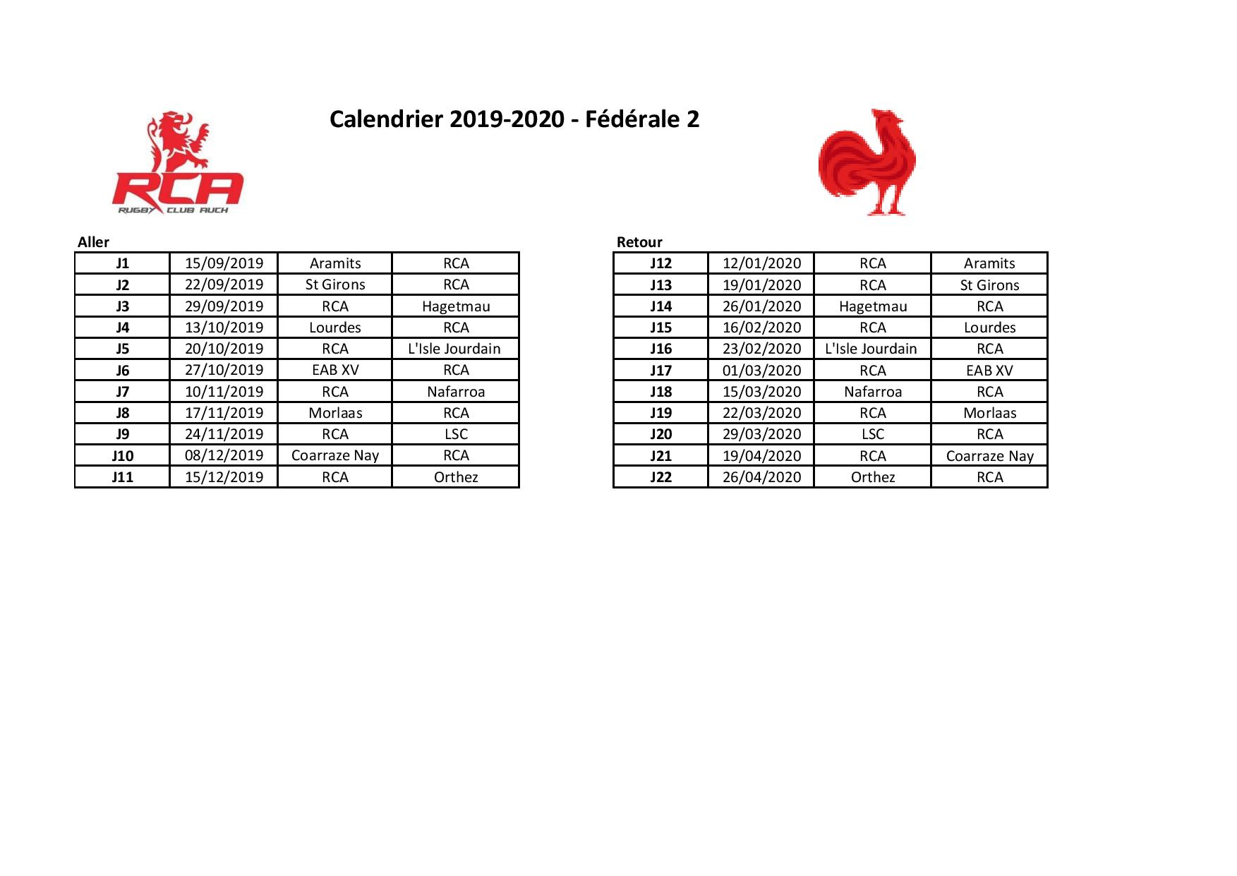 Calendrier Federale 2 2020 2019.Le Calendrier 2019 2020 Est Arrive Rc Auch Rugby